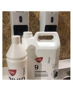 Dispenserpakke, hvor du nemt og billigt kan genopfylde sæbe og hånddesinfektion - Fra BasicClean.dk