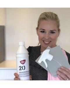 SHINE UP PAKKEN hjælper dig med at fjerne kalk på materialer som marmor, skiffer og andre materialer der ikke tåler syre - Fra BasicClean.dk